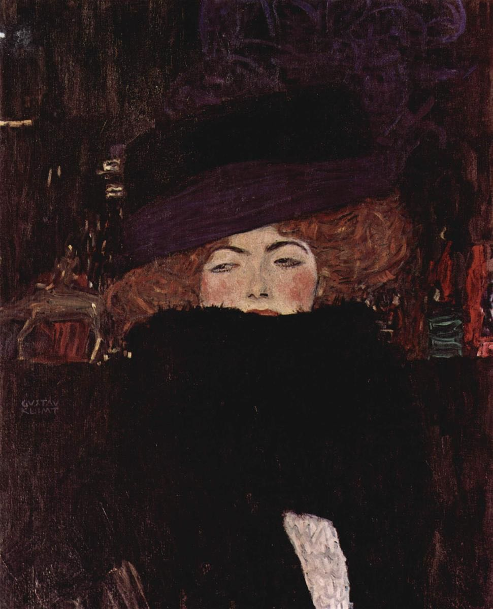 Gustav Klimt: lady with hat and featherboa